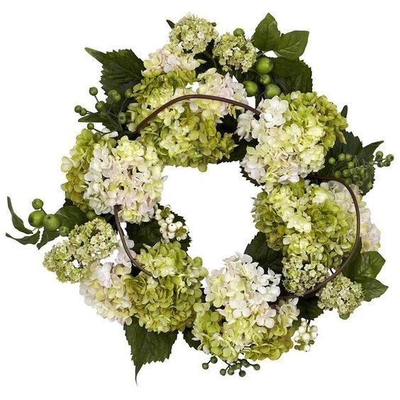 nearly natural 22-in. Silk Hydrangea Wreath, Ivory (Cream) ($135) ❤ liked on Polyvore featuring home, home decor, floral decor, ivory, silk door wreaths, artificial door wreaths, hydrangea wreath, artificial flower wreaths and flower stems