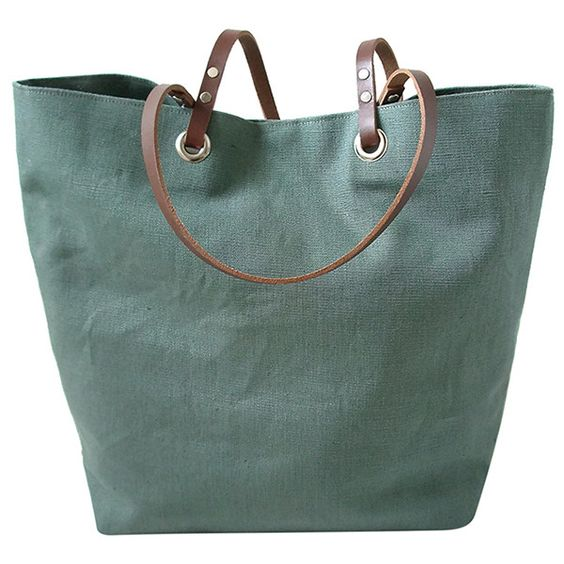 Independent Reign Linen and Leather Beach Bag (185 CAD) ❤ liked ...