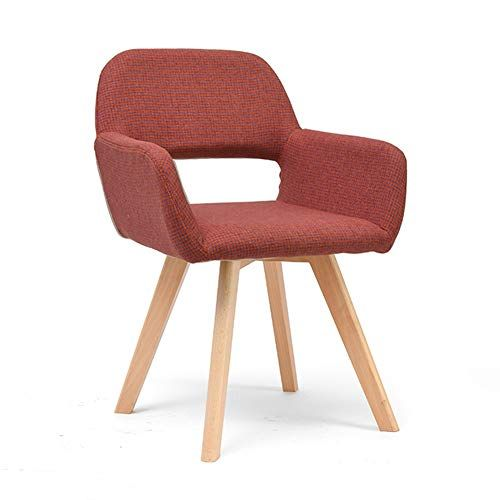 Comfortable Chair Nordic Dining Chairs Mid Century Modern Cotton Linen Upholstered Lounge Solid Wood Dining Chairs Simple Dining Chairs Arm Chairs Living Room