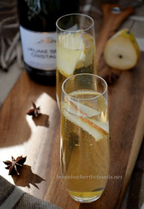 Sparkling Spiced Pear Cocktail