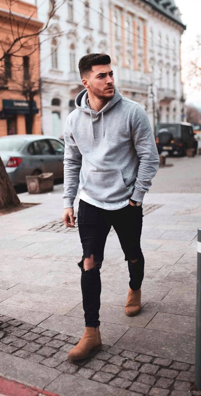 grey mens hoodie and black distressed denim establish a basic outfit for men ∞  #greyhoodie #mensjeans #basic #chelseaboots