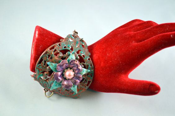 Bohemian Style Handmade Metal Flower Bracelet by Beetique on Etsy, $30.00