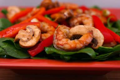 Asian Spinich Salad with Shrimp