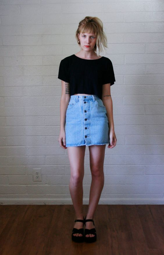 High Waisted Denim Skirt | Gonne, Gonne in jeans e Bottoni