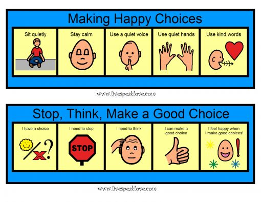 Visual process strips to teach students positive behavior choices