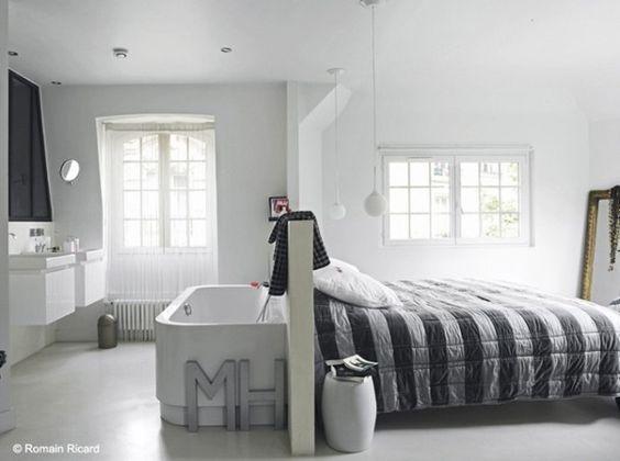http://www.conseil-architecture.com  Mi chambre mi salle de bain #élégance #luminosité