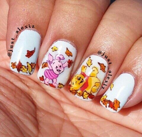 Fall Winnie the pooh  piglet nail art