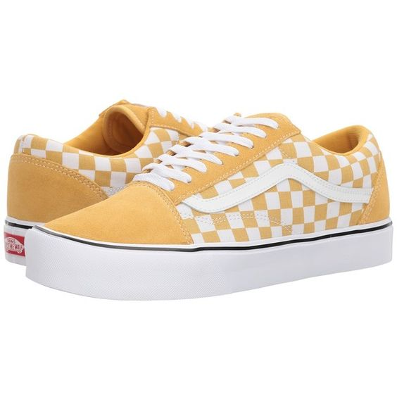 Vans Old Skool Lite Suede Canvas Ochre True White Skate Shoes 65 Liked On Polyvore Featuring Shoes Lightweight Shoes Suede Shoes Canvas Skate Sapatos