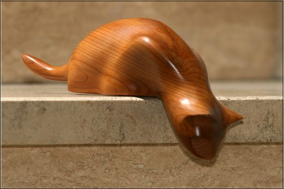Cat carved from Yew: