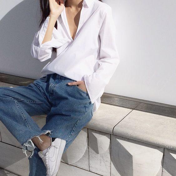 frayed denim / crisp white shirt