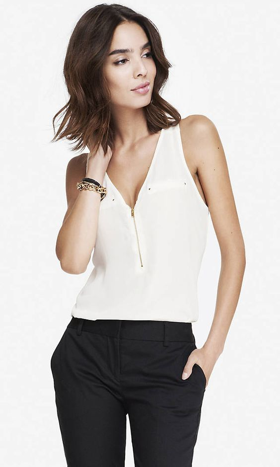 Pocket And Zip Crepe Front Tank | Express
