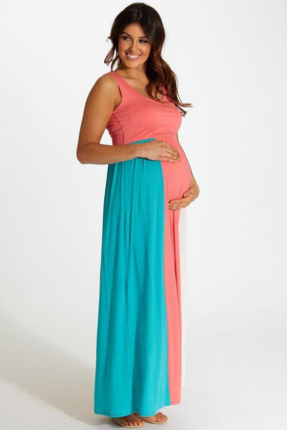 Aqua-Pink-White-Colorblock-Maternity-Maxi-Dress