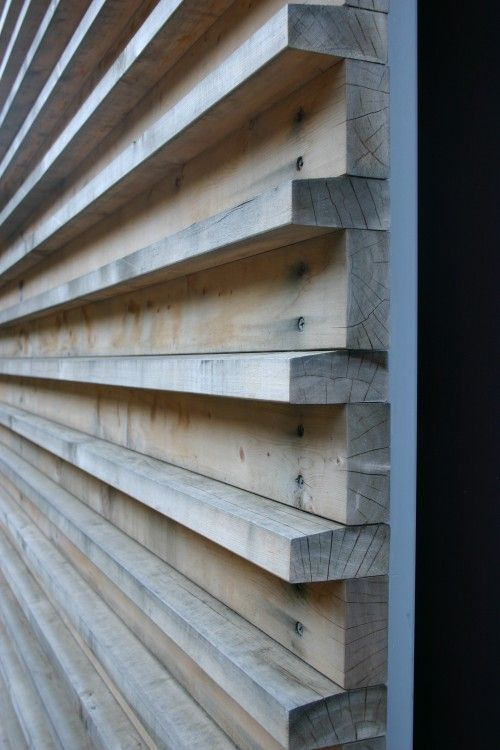 Headboards wood slat wall and nice on pinterest for Wooden cladding for exterior walls