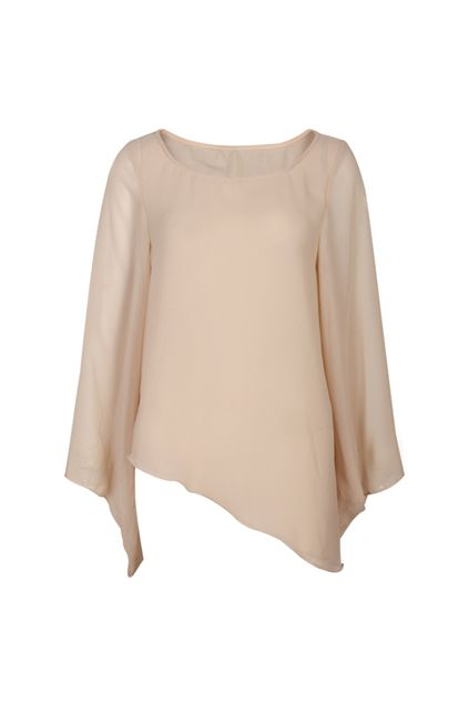 Anomalous Lower Hem Nude Blouse [NRSH0214] - $52.99 :  romwe.com #Romwe