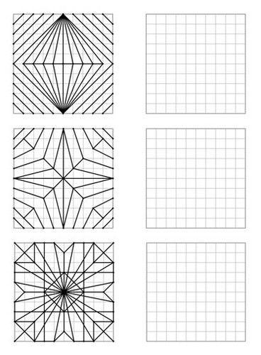 Voici Un Fichier De 30 Figures Geometriques De Difficulte Croissante A Reproduire Sur Quadrillage 10 X10 Cours D Art Geometrie Dessin Quadrillage