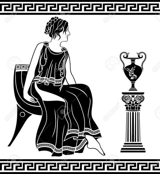 Ancienne femme grecque assis sur une chaise pochoir noir for Abdos assis sur une chaise