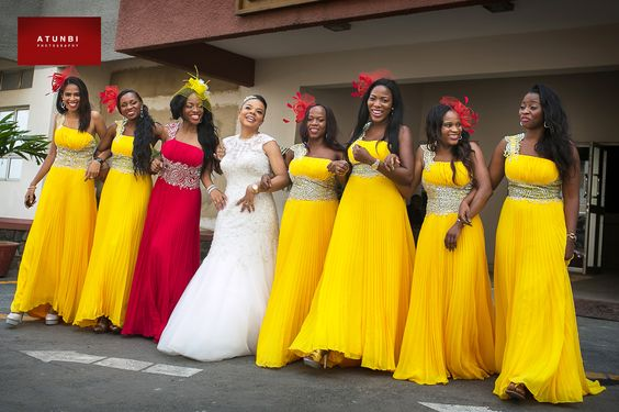 Beautiful colors....yellow and red bridesmaids dresses!: Bridesmaids Bridesmaidsdresses, Yellow Wedding Dress, Bridesmaid Headpiece, Bridesmaids Dresses, Red Bridesmaid Dresses, Bridesmaids Dressing, Nigerian Wedding, Yellow Bridesmaid Dresses