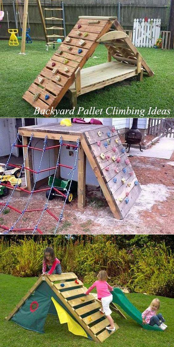 Lage klimwanden en zelfgemaakte houten speeltoestellen voor in je tuin