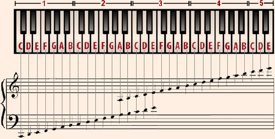 Grand Piano Keys Notes Musical Scale Grand Staff From Piano For - piano notes chart
