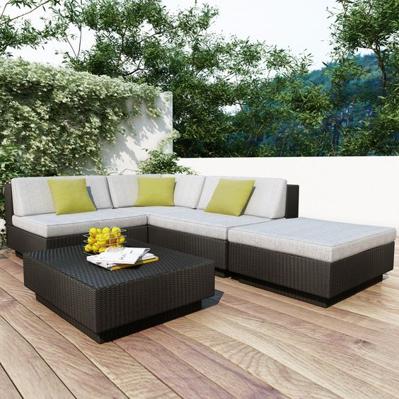 Sonax Park Terrace Textured Black Sectional Set