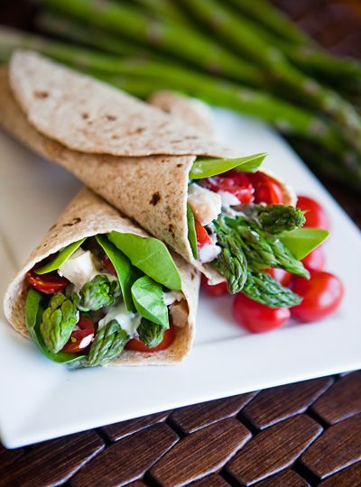 Chicken Asparagus Wraps with Basil Cream Sauce.