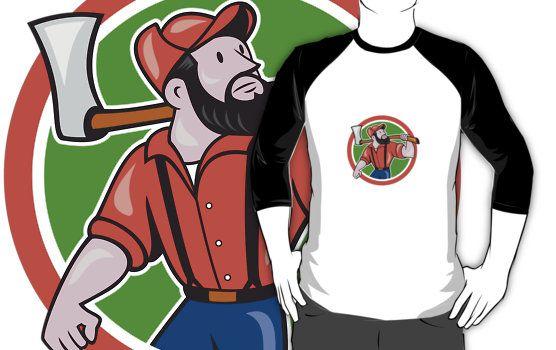 LumberJack Holding Axe Circle Cartoon by patrimonio
