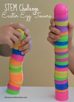 Fun STEM Challenge for kids using plastic Easter eggs plus ways to extend the activity.: