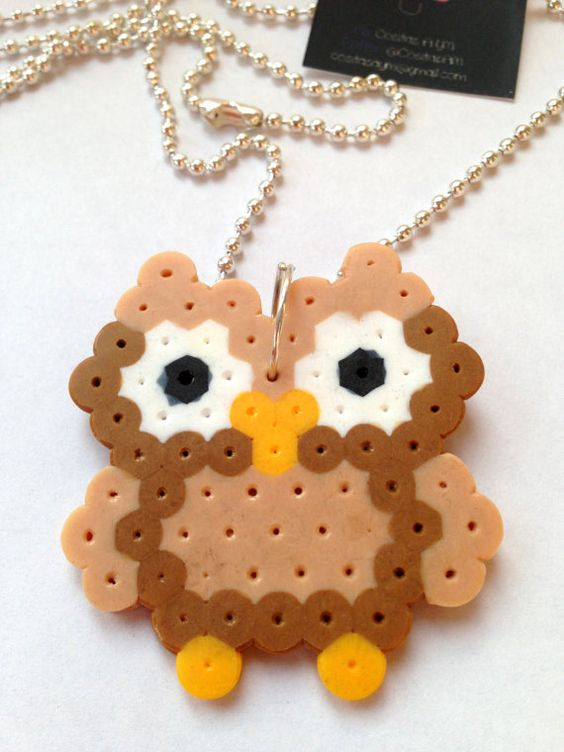 Perler Bead brown Owl Necklace by CositasAM: