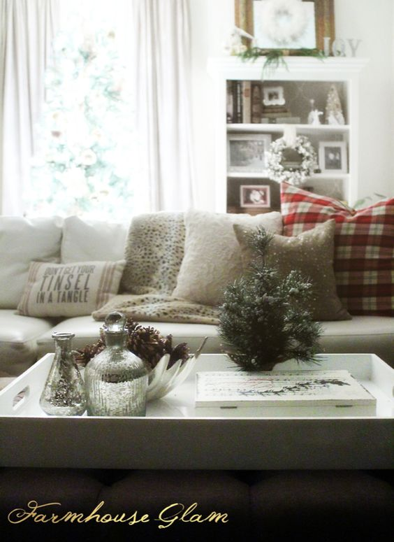 "Farmhouse Glam Christmas Style: Plaid, fur, and sparkles. Coffee table accessories and faux fur throw from @HomeGoods . 24"" plaid pillows made from a @HomeGoods tablecloth!"