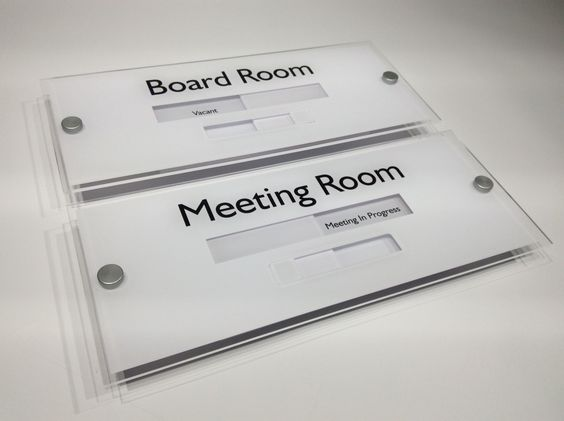 Boardroom Sign And Meeting Room Sliding Door Sign Vacant