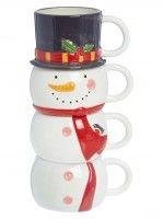 George Home - Snowman mug stack , Download this press image at prshots.com/press #home #interior #xmas #christmas #homeblog #blogger