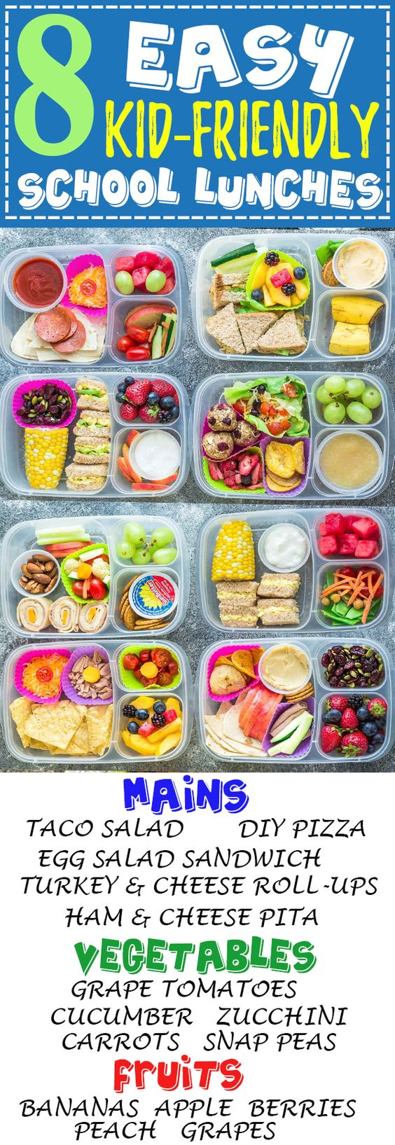 8 Easy, Healthy and Delicious Lunches for Back To School. With tons of ideas along with options for nut free, dairy free and gluten free choices. There is something for even picky eaters who will want to finish their food with no leftovers. Perfect for adults too who are looking for recipes and ideas other than sandwiches to bring to work along with tips on how to be more efficient when packing lunch boxes.