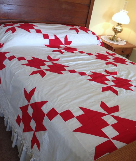 Vintage Red White Quilt Top Handmade Hand Stitched by AStringorTwo