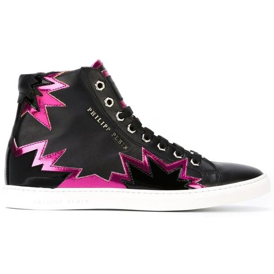 Philipp Plein Mirror Mirror Hi-Top Sneakers ($541) ❤ liked on Polyvore featuring shoes, sneakers, black, flat sneakers, leather hi top sneakers, leather high tops, black leather shoes and black flat shoes