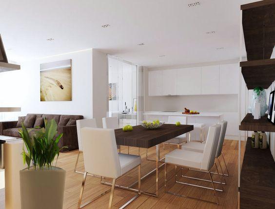 étkező és konyha - Stílusosan, egyszerű vonalakkal - modern lakás lakberendezési…