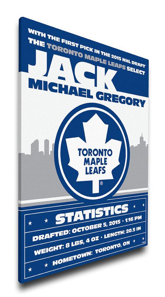Toronto Maple Leafs Personalized Birth Announcement on Canvas – Toronto Birth Announcements