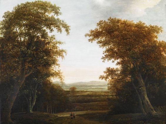 4 апреля. Jan de Lagoor Paysage de la campagne hollandaise avec une allée dans un sous-bois.