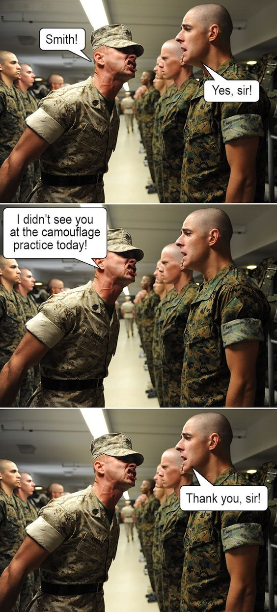 WHY couldn't I come up with funny stuff like this as my drill sergeant was screaming in my face! lol: