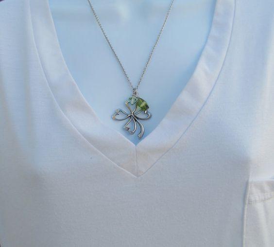 Clover necklace 4 leaf clover four leaf clover st by Gendrea, $26.00