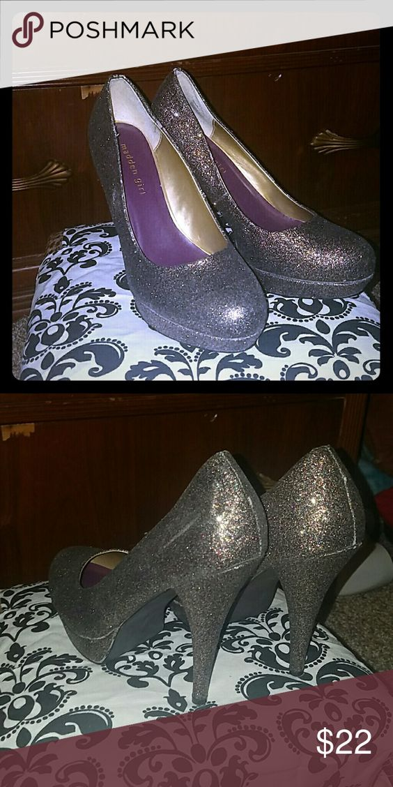 """Purple based multi color glitter heels Pretty shoes about 4.5"""" not new but still in really good condition they are either 9 or 9.5 these are so so comfortable i could probably wear them all day and night and be okay. Madden Girl Shoes Heels"""