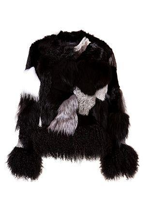 JOSEPH Patchwork Fur Jacket in Black/Grey