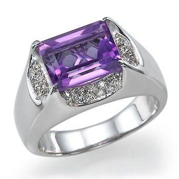 420 carats Amethyst Ring 14k White Gold set Diamonds by ldiamonds, $1575.00