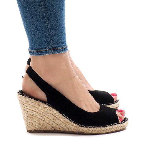 Czarne sandały koturny 2894 | Obuwie damskie, Klin, Sandały