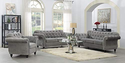 Mollai Collection 3 Pc Sofa Loveseat Chair Grey Tufted Fabric Luxury Home Furniture Living Room Sets Furniture