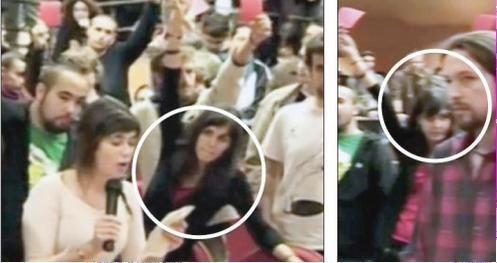 Rita Maestre con Pablo Iglesias en el escrache en la universidad pùblica a Rosa Dìez @isanseba @MasClaro13tv