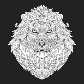 Chat dessin noir et blanc ornement de lion ethnique - Chat dessin noir et blanc ...