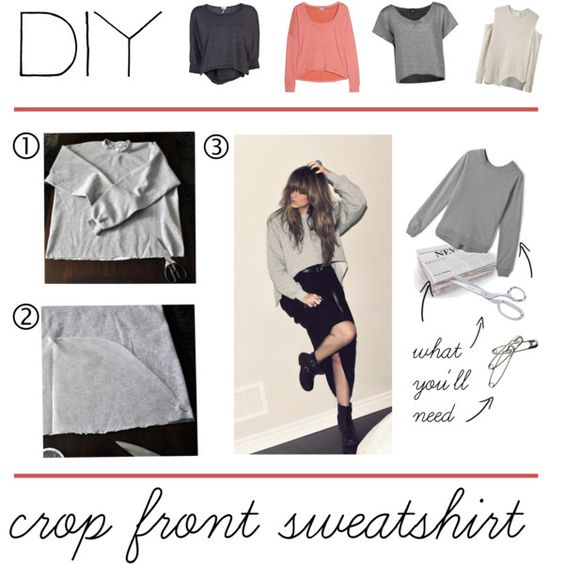 """""""DIY Crop Front Sweatshirt"""" by polyvore-editorial on Polyvore"""