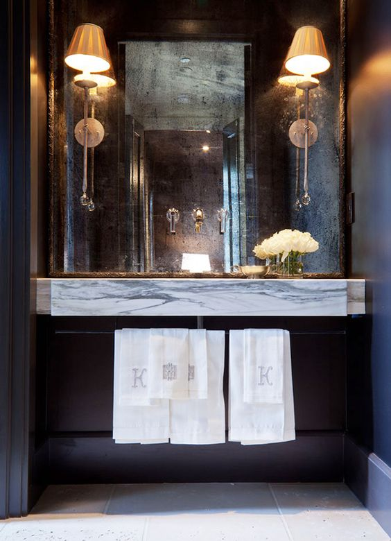 linens and floating vanity for powder room: