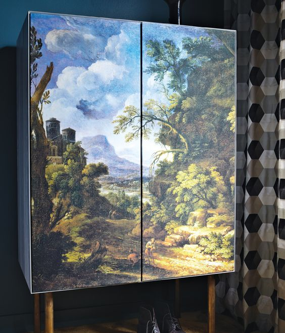 Fehrentz designed the wardrobe; the doors are covered in canvas printed with a baroque landscape scene. The curtains are by Dominique Kie...