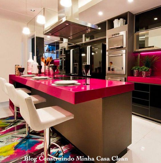 21 cozinhas americanas modernas veja modelos de bancadas e de banquetas lindas ems rosa e - Casas americanas modernas ...